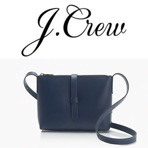 J Crew Parker Crossbody Bag Navy Blue Leather